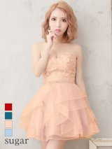 【Lip line/リップライン】フラワー刺繍xビジュー/ベア/チュールスカート/キャバドレス