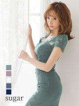 【Lip line/リップライン】フラワー刺繍/タックデザイン/タイト/キャバドレス