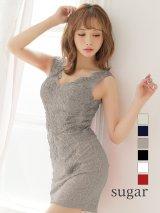 Lサイズあり【Lip line/リップライン】ビジュー刺繍xレース/タイト/キャバドレス