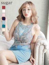 【Lip line/リップライン】刺繍ビジュー/ウエスト切り替え/タイト/ミニドレス /キャバドレス