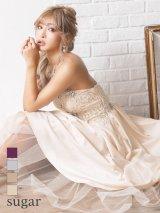 【Lip line/リップライン】ベア/ビーズ刺繍/Aライン/ロング/キャバドレス long