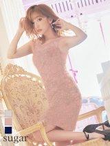 【Lip line/リップライン】刺繍/ノースリーブ/ワンカラー/タイト/ミニドレス /キャバドレス