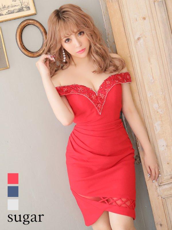 画像1: 【Lip line/リップライン】ビーズ刺繍/ ドレープ/ 変形スカート/ タイト/ ミニドレス/ キャバドレス