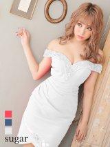 【Lip line/リップライン】ビーズ刺繍/ ドレープ/ 変形スカート/ タイト/ キャバドレス