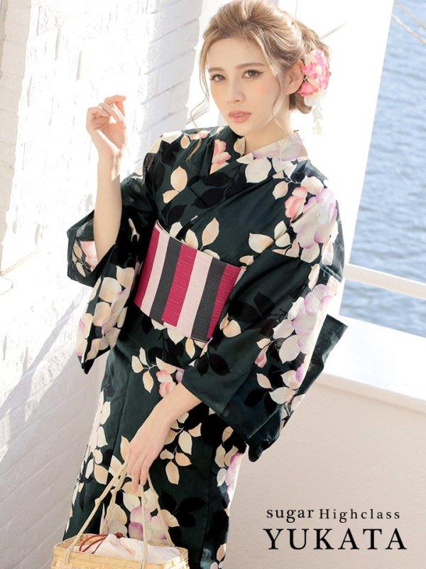 画像1: 【高級浴衣】深緑地x優雅な椿模様高級浴衣セット
