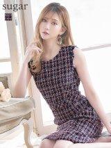 【ERUKEI エルケイ】ツイード/ ノースリーブ/ 台形スカート/ ミニドレス/ キャバドレス