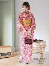 【浴衣】値下げ☆【ノベルティー対象商品】sugar&Jewelsオリジナルデザイン!紅緋×ダマスク浴衣セット