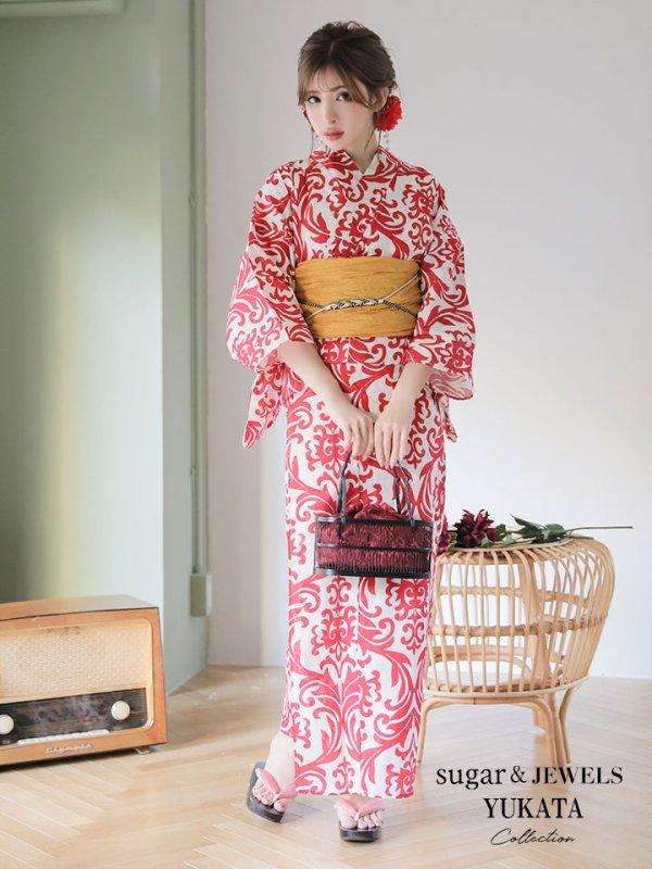 画像1: 【浴衣】値下げ☆sugar&Jewelsオリジナルデザイン!紅緋×ダマスク浴衣セット