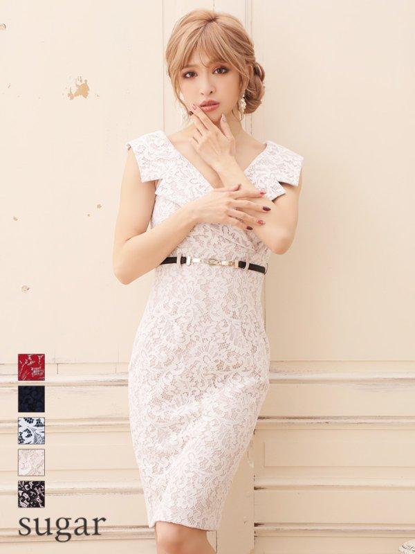 画像1: ☆大人気再入荷☆【Rosett/ロゼット】総レース/襟デザイン/膝丈/キャバドレス