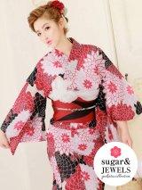 【2019浴衣】白x赤x黒菊模様浴衣セット(19obi-2/19himo-BK/Yobi-030-WH)[HC02]