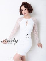 【Andy ANDY FashionPress 02 COLLECTION 07】レース切替/アシメ/ ロングスリーブ/ タイト/ ミニドレス/ キャバドレス