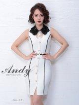 【ANDY/アンディ】 レースネック/ベルト付き/ワンカラー/タイト/ ミニドレス/ キャバドレス