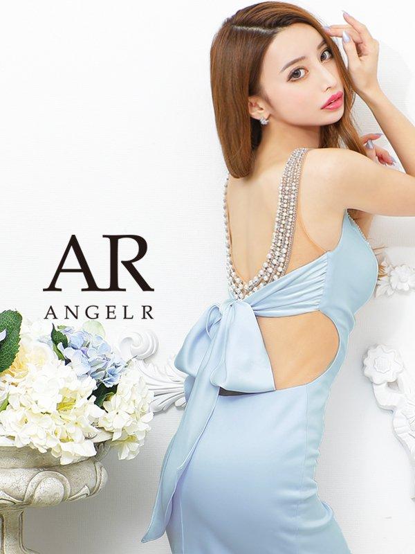 【Angel R/エンジェルアール】バックパールビジュー/ リボン/ タイト/ ミニドレス/ キャバドレス/サックス