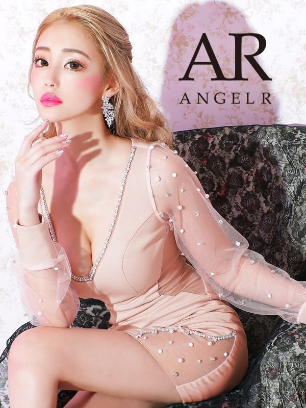【Angel R/エンジェルアール】ロングスリーブ/ ビジュー/ タイト/ ミニドレス / キャバドレス ピンク