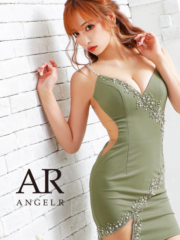 【XSサイズあり】【Angel R/エンジェルアール】フロントデザインビジュー/ タイト/ ミニドレス/ キャバドレス/グリーン