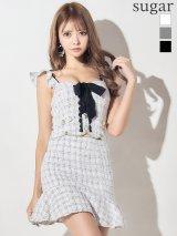 【XSサイズあり】【ROBE de FLEURS/ローブドフルール】チェックツイード×スカートパンツドレス キャバドレス