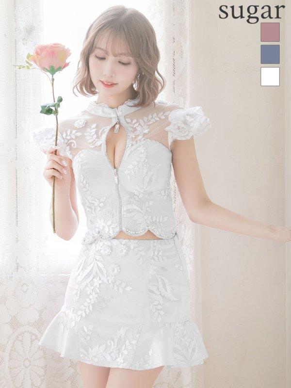 XSサイズあり【ROBE de FLEURS/ローブドフルール】ジッパー/ スカートパンツ / セットアップ/ミニドレス/ キャバドレス ホワイト