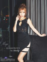 【Miyu × GLAMOROUS by Andy COLLECTION】ワンカラー/ レース/ アシメスカート/ タイト/ ミニドレス / キャバドレス
