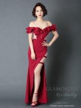 【GLAMOROUS ANDY FASHION PRESS 01 COLLECTION 02】ワンカラー/ オフショル/ シアーレース/ ストレッチ/ ロングドレス / キャバドレス long