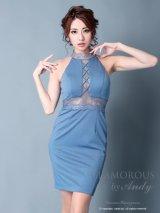 【GLAMOROUS ANDY Fashion Press 06 COLLECTION 02】ワンカラー/ ハイネック/ シアーレース/ タイト/ ミニドレス / キャバドレス