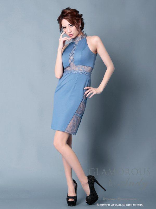 画像2: 【GLAMOROUS ANDY Fashion Press 06 COLLECTION 02】ワンカラー/ ハイネック/ シアーレース/ タイト/ ミニドレス / キャバドレス