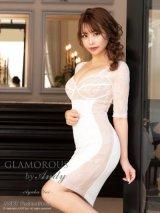 【GLAMOROUS ANDY Fashion Press 06 COLLECTION 02】ワンカラー/ 五分袖/ レース/ タイト/ ミニドレス / キャバドレス