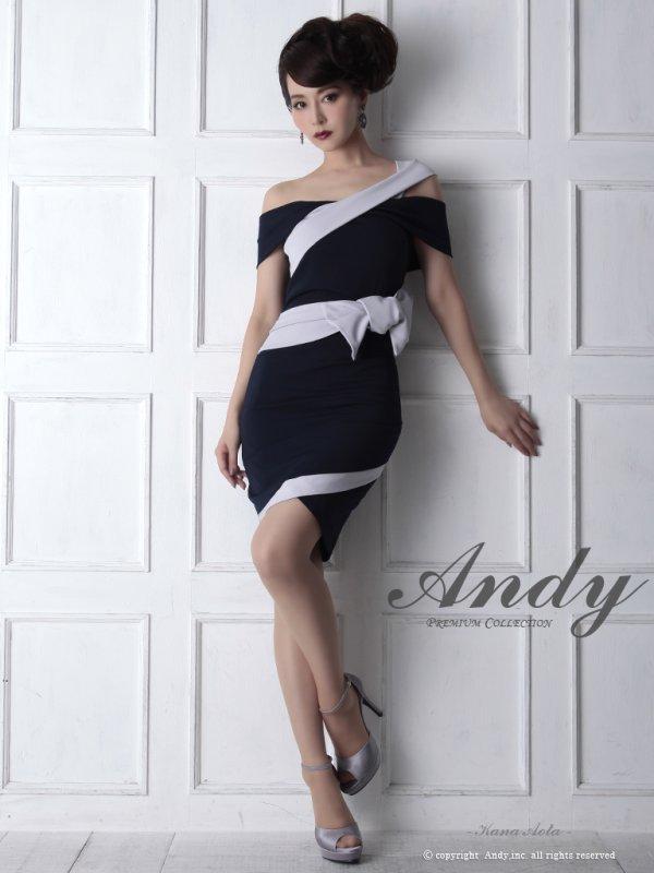 画像2: 【ANDY/アンディ】ワンショル/ウエストリボン/変形スカート/タイトミニ/ ミニドレス/ キャバドレス