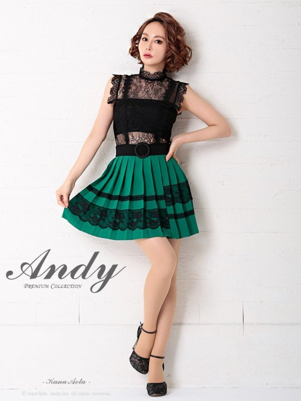 画像2: 【Andy ANDY Fashion Press 06 COLLECTION 07】レース/ ノースリーブ/プリーツ/ 切り替え/ タイト/ ミニドレス/ キャバドレス
