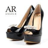 【再入荷】【Angel R/エンジェルアール】ストーンブローチ付き/ エナメル/ ハイヒール/ パンプス