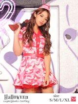 【ハロウィン3点セット】ピンクアーミーワンピース【S-XLサイズ/1カラー】(STEE06 W)[HC02]