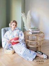 【浴衣】【浴衣3点セット】椿xストライプ模様浴衣セット(Yobi030-BE / 19himo-BK)
