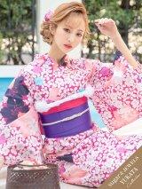 【浴衣】小花模様浴衣セット(19obi-7/Yobi-030-W/19himo-BL)