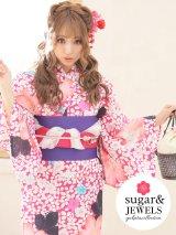 【浴衣】値下げ!小花模様浴衣セット(Yobi030WH / Yhimo201 / 19obi-7)