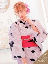 【浴衣】淡い紫色xストライプの花柄模様浴衣セット(19obi-14/Yobi-030-W/19himo-BK)[HC02]