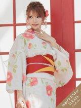 【浴衣】クリーム地×コーラルピンク花模様浴衣セット(19obi-9/Yobi-030-WH/19himo-PL)[HC02]
