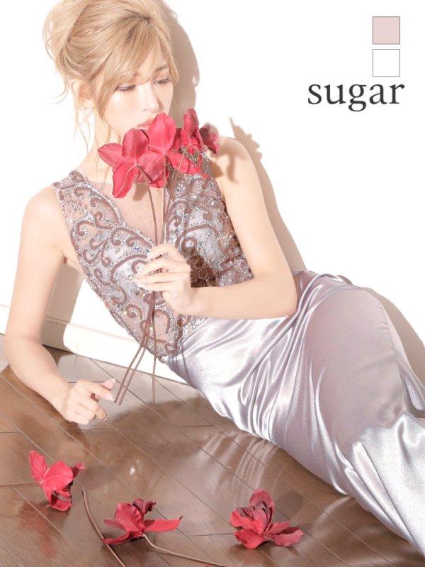 画像1: 人気の為再入荷!! L/XLサイズあり【Luxe Style/リュクススタイル】ビーズ刺繍 /シアーレース /サテン /ロング /キャバドレス long (1)