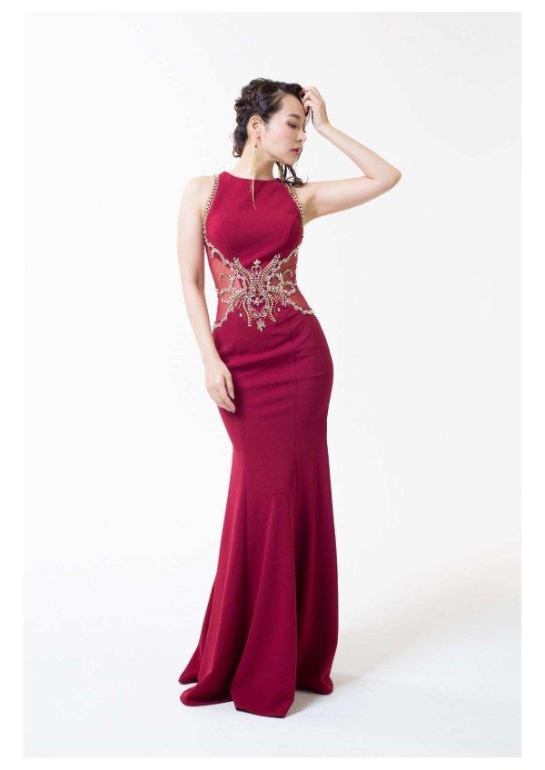 画像1: Lサイズあり【Luxe Style/リュクススタイル】ビジュー刺繍/マーメイド/ロングドレス /キャバドレスlong (1)