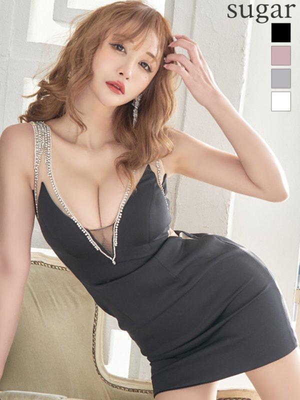 【Jessica/ジェシカ】サイドシアー/ ビジューライン/ ワンカラー/ タイトミニ/ ミニドレス/ キャバドレス/ブラック