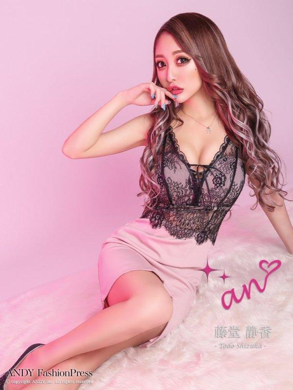 【an ANDY Fashion Press 05 Asuka Ayano - COLLECTION 01】レース/ バストスピンドル/ キャミソール/ タイト/ ミニドレス/ キャバドレス/ブラックxピンク