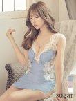 【XSサイズあり】【ROBE de FLEURS/ローブドフルール】サイドチュール/ スパンコール刺繍/ タイト/ ミニドレス/ キャバドレス ブルー